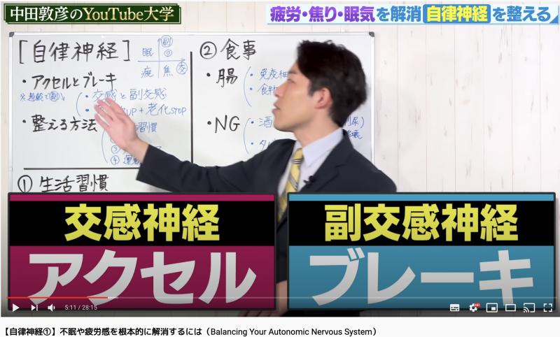 中田が自律神経を整えるために交感神経と副交感神経の説明している