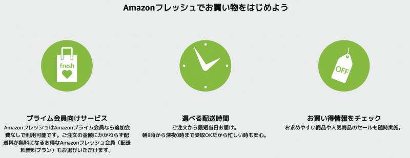 Amazonフレッシュの特典説明画像